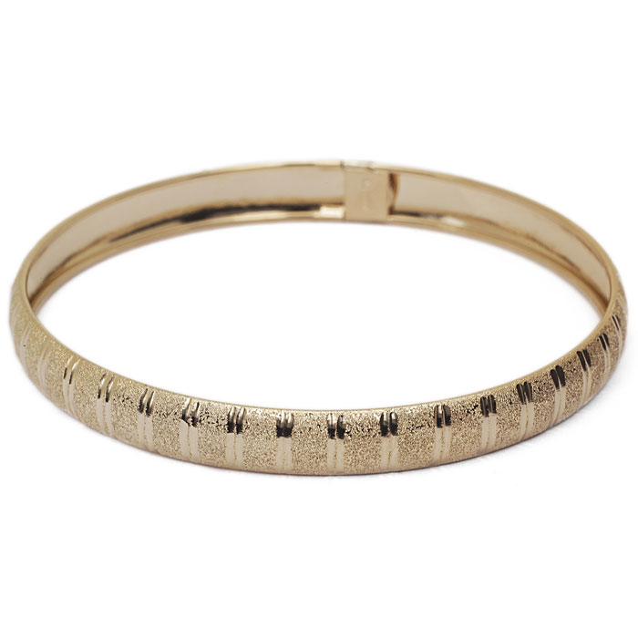 10K Yellow Gold (4.8 g) Flexible Bangle Bracelet w/ Unique Diamon