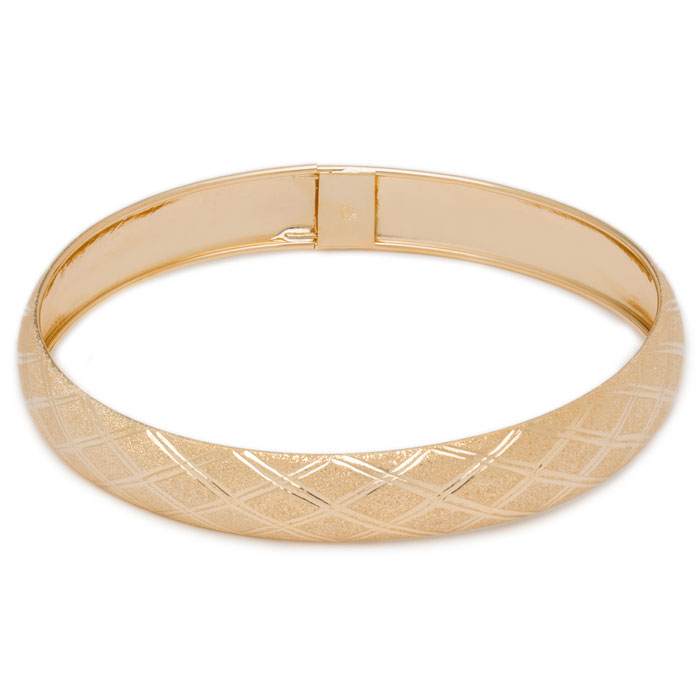 10K Yellow Gold Flexible Bangle Bracelet With Argyle Diamond Cut Design, Ava..