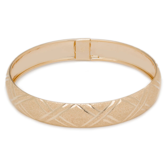 10K Yellow Gold Flexible Bangle Bracelet With Double X Diamond Cut Design, A..