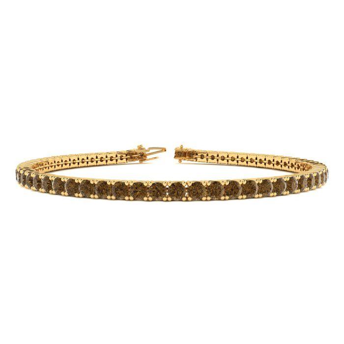 4 1/2 Carat Chocolate Bar Brown Champagne Diamond Tennis Bracelet in 14K Yellow Gold (10.7 g)