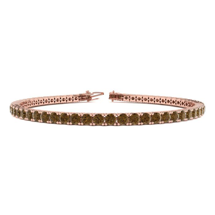 9 Inch 5 Carat Chocolate Bar Brown Champagne Diamond Tennis Bracelet In 14K Rose Gold