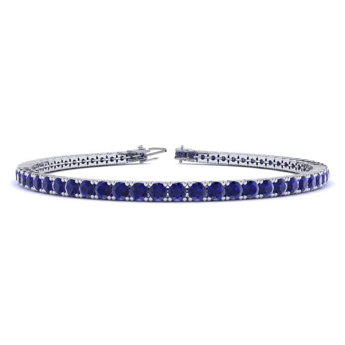 7.5 Inch 5 1/2 Carat Sapphire Tennis Bracelet in 14K White Gold (10.1 g) by SuperJeweler