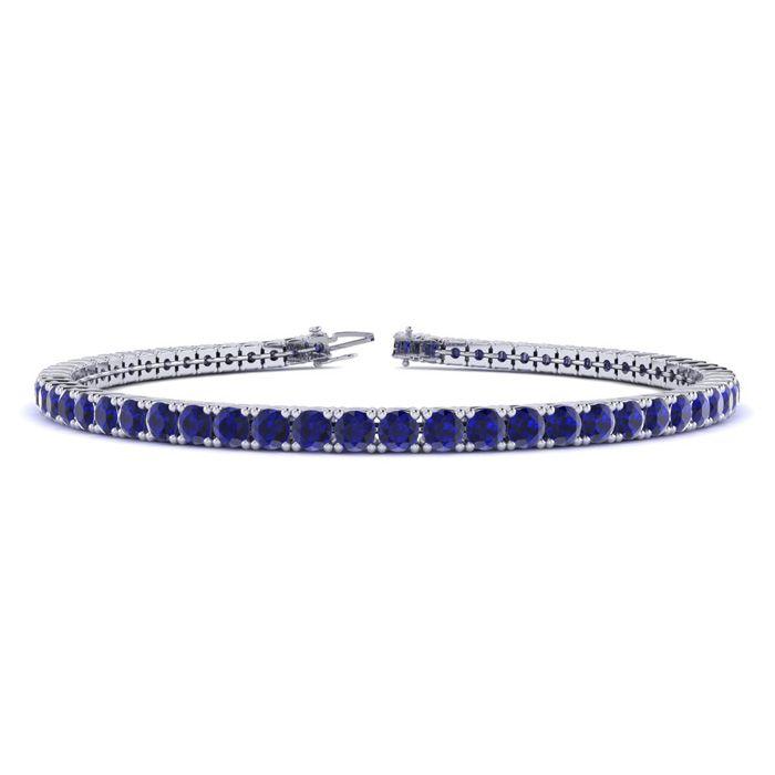 9 Inch 6 3/4 Carat Sapphire Tennis Bracelet in 14K White Gold (12