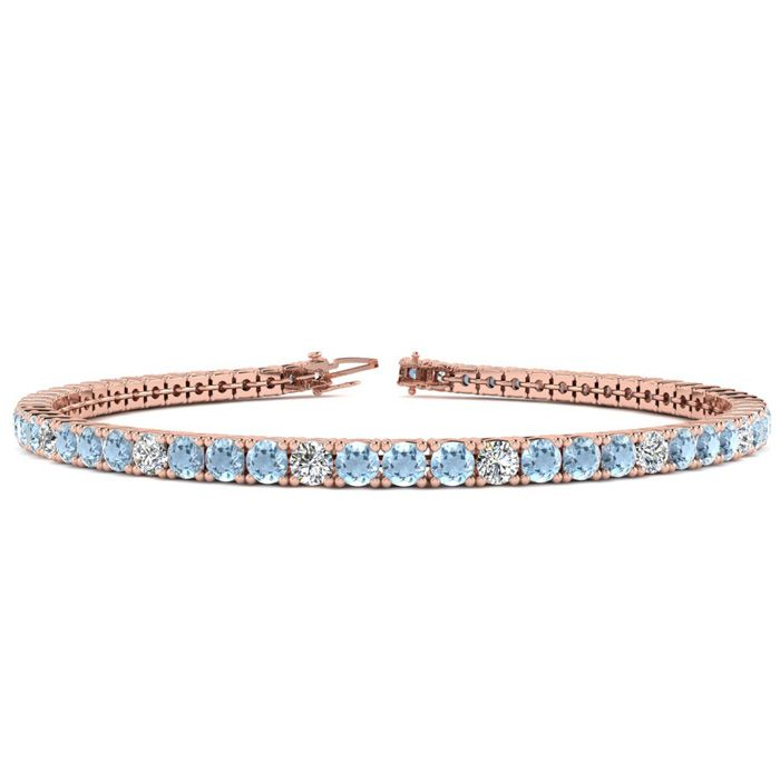 7.5 Inch 4 1/4 Carat Aquamarine & Diamond Graduated Tennis Bracelet in 14K Rose Gold (10.1 g), J/K by SuperJeweler