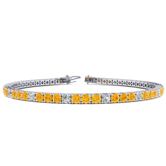 6 Inch 3 1/2 Carat Citrine & Diamond Graduated Tennis Bracelet in 14K White Gold (8.1 g), J/K by SuperJeweler
