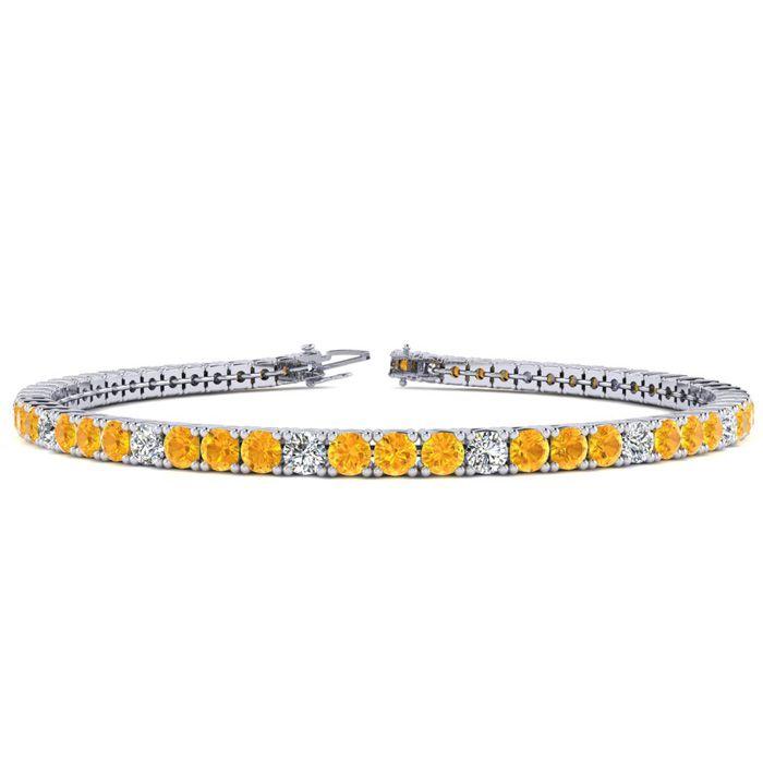8 Inch 4 1/2 Carat Citrine & Diamond Graduated Tennis Bracelet in