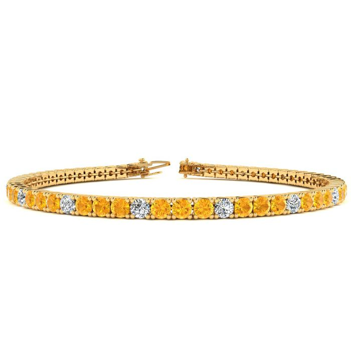 6 Inch 3 1/2 Carat Citrine & Diamond Graduated Tennis Bracelet in 14K Yellow Gold (8.1 g), J/K by SuperJeweler