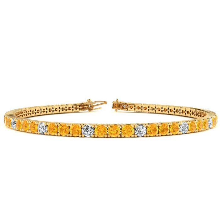 7 Inch 4 Carat Citrine & Diamond Graduated Tennis Bracelet in 14K