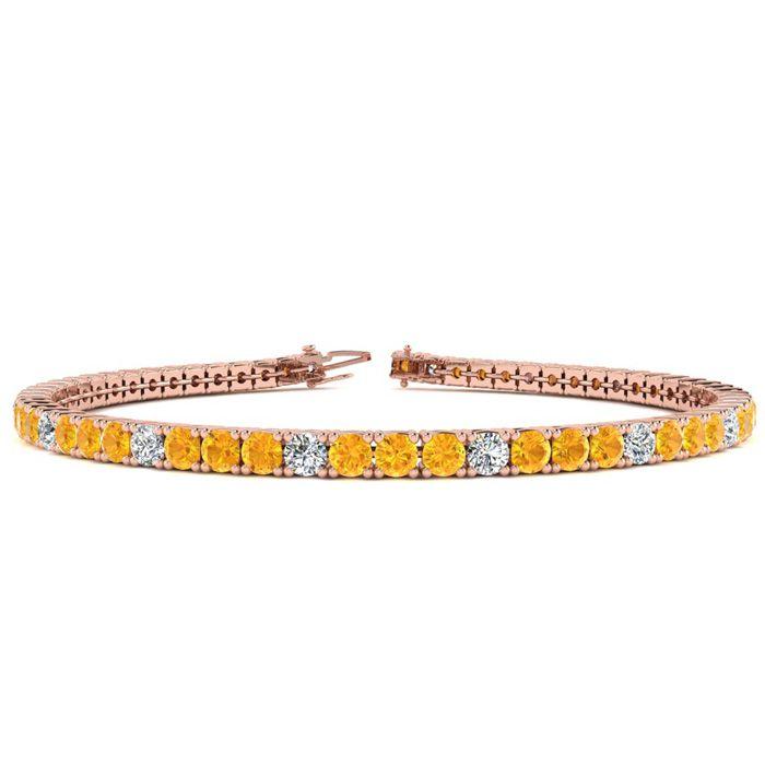 6 Inch 3 1/2 Carat Citrine & Diamond Graduated Tennis Bracelet in 14K Rose Gold (8.1 g), J/K by SuperJeweler