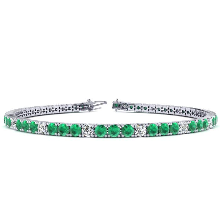 6 Inch 4 Carat Emerald Cut & Diamond Graduated Tennis Bracelet in 14K White Gold (8.1 g), J/K by SuperJeweler