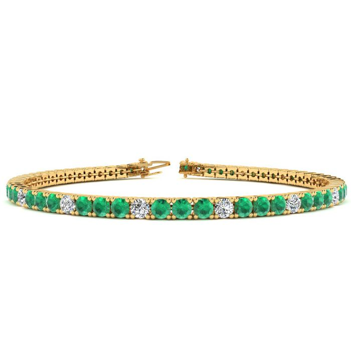 6 Inch 4 Carat Emerald Cut & Diamond Graduated Tennis Bracelet in 14K Yellow Gold (8.1 g), J/K by SuperJeweler