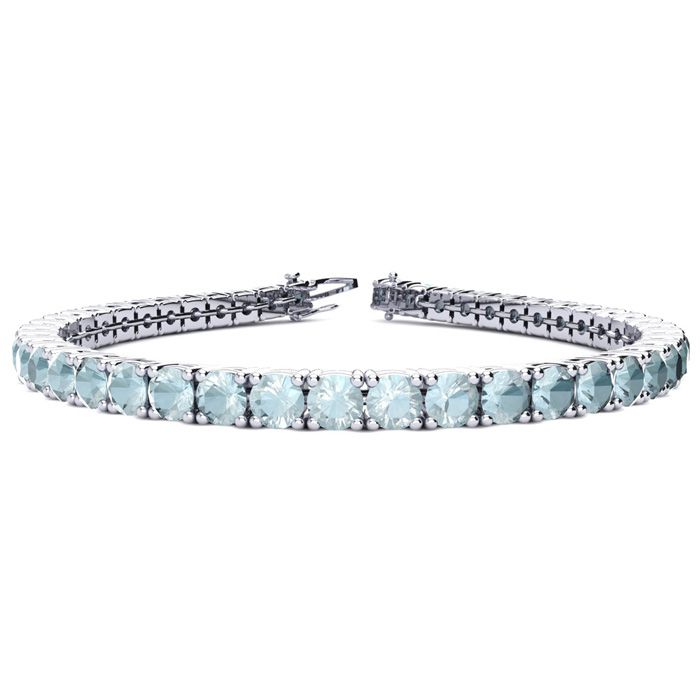 7.5 Inch 7 3/4 Carat Aquamarine Tennis Bracelet in 14K White Gold