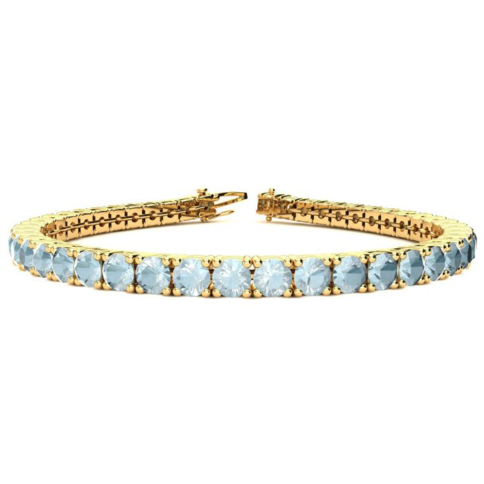 8.5 Inch 9 Carat Aquamarine Tennis Bracelet in 14K Yellow Gold (1