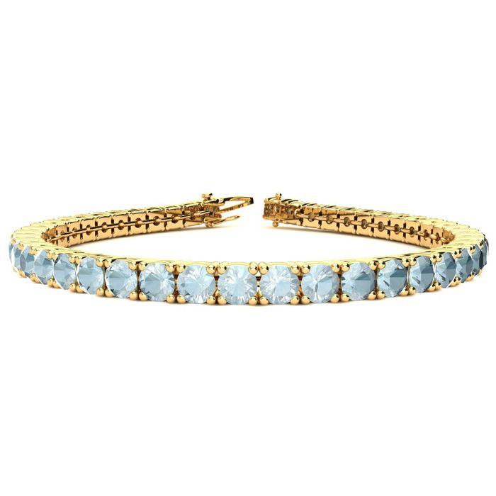 8.5 Inch 9 Carat Aquamarine Tennis Bracelet in 14K Yellow Gold (14.6 g) by SuperJeweler