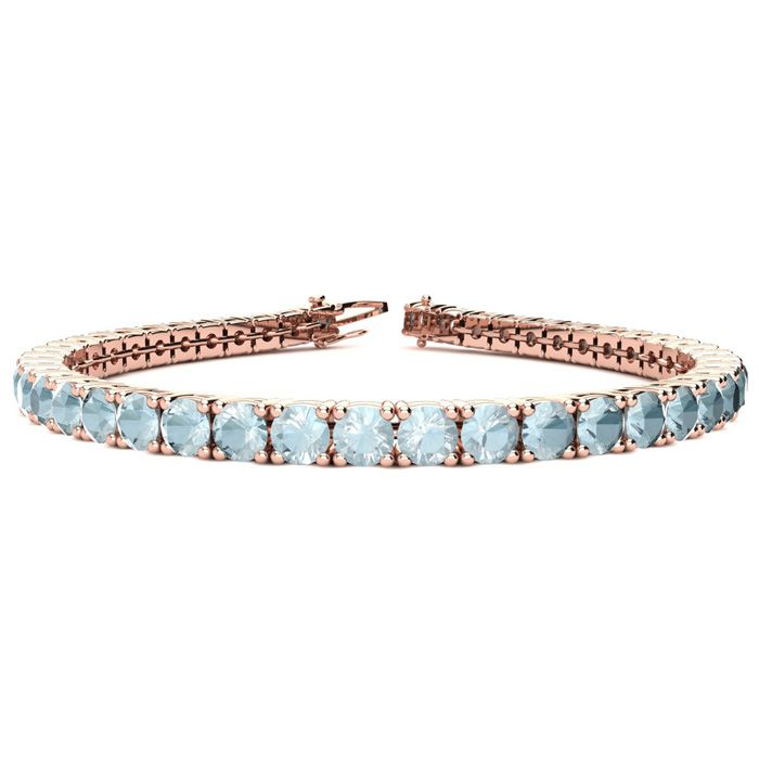 7.5 Inch 7 3/4 Carat Aquamarine Tennis Bracelet in 14K Rose Gold