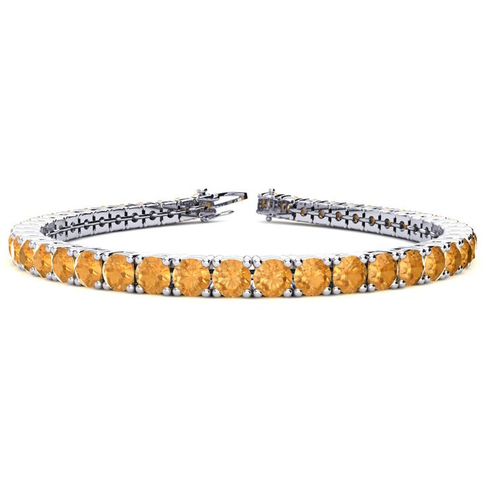 6 Inch 7 3/4 Carat Citrine Tennis Bracelet in 14K White Gold (10.