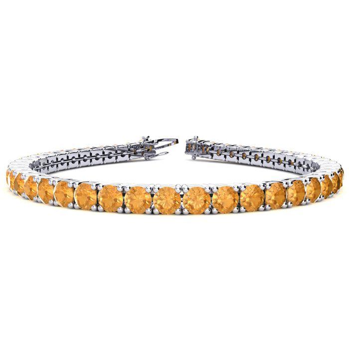 7 Inch 9 1/5 Carat Citrine Tennis Bracelet in 14K White Gold (12