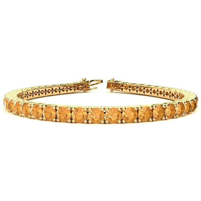 6 Inch 7 3/4 Carat Citrine Tennis Bracelet in 14K Yellow Gold (10