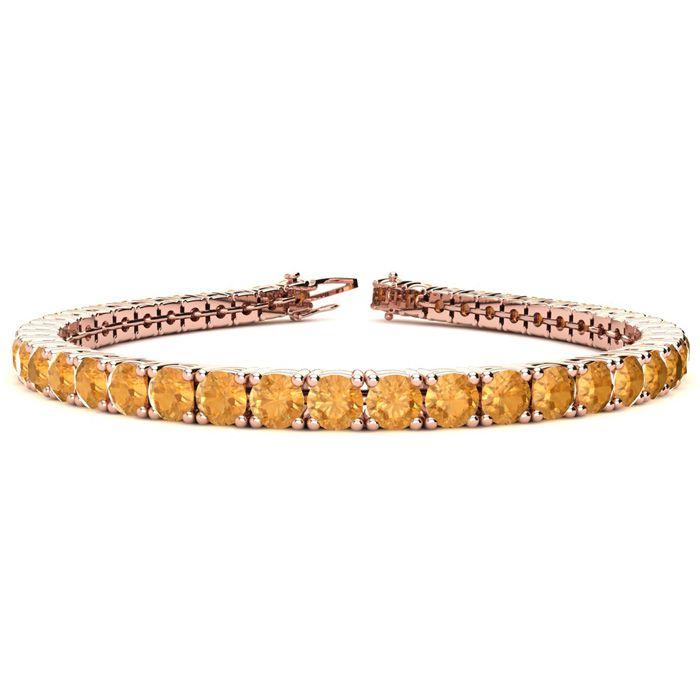 6 Inch 7 3/4 Carat Citrine Tennis Bracelet in 14K Rose Gold (10.3