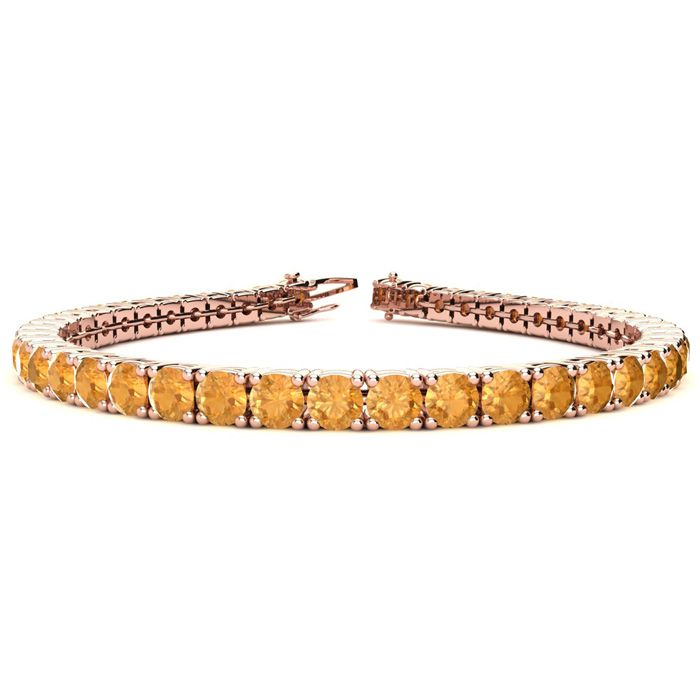 8 Inch 10 1/2 Carat Citrine Tennis Bracelet in 14K Rose Gold (13.
