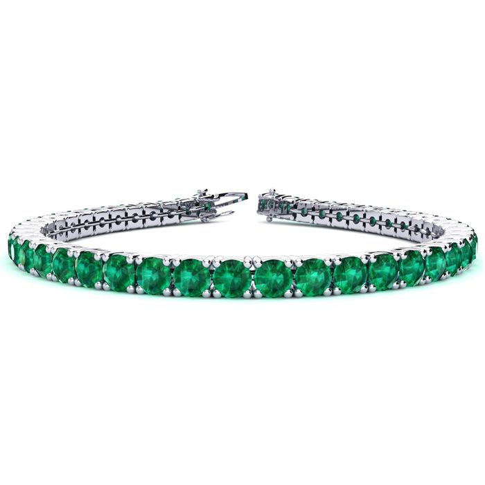 6 Inch 9 3/4 Carat Emerald Tennis Bracelet in 14K White Gold (10.