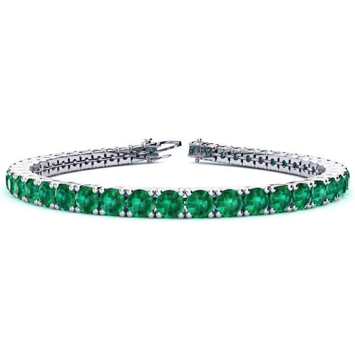 6.5 Inch 10 3/4 Carat Emerald Tennis Bracelet in 14K White Gold (