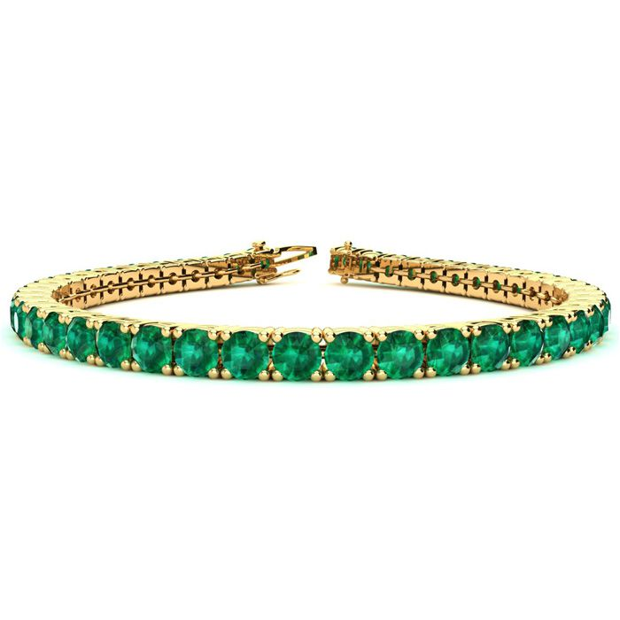 8.5 Inch 14 Carat Emerald Tennis Bracelet in 14K Yellow Gold (14.