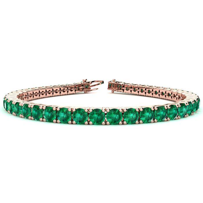 6 Inch 9 3/4 Carat Emerald Tennis Bracelet in 14K Rose Gold (10.3
