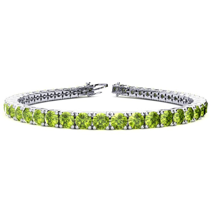 6 Inch 7 3/4 Carat Peridot Tennis Bracelet in 14K White Gold (10.