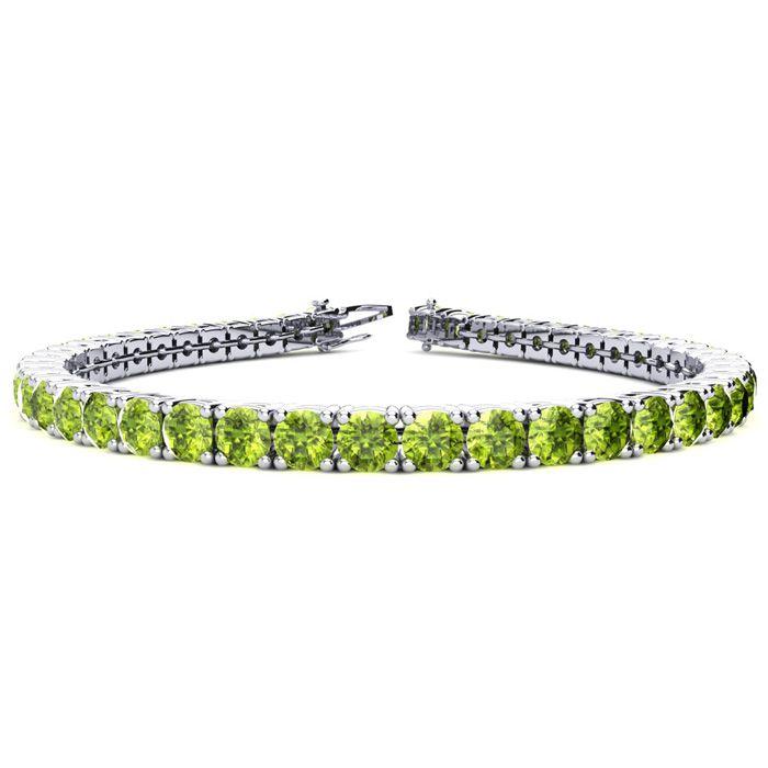 7.5 Inch 9 3/4 Carat Peridot Tennis Bracelet in 14K White Gold (1