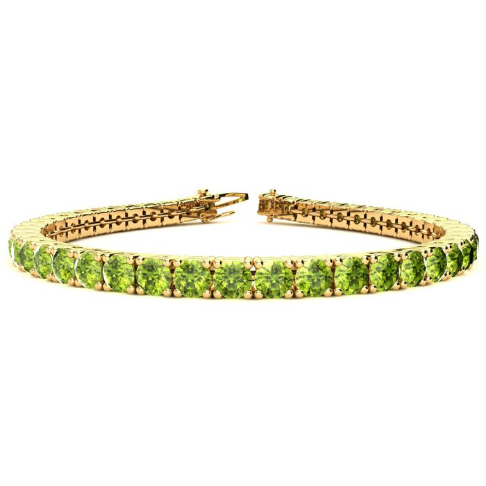 8 Inch 10 1/2 Carat Peridot Tennis Bracelet in 14K Yellow Gold (1