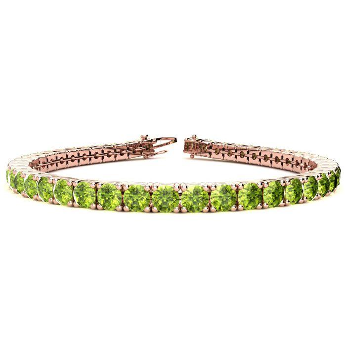 6 Inch 7 3/4 Carat Peridot Tennis Bracelet in 14K Rose Gold (10.3 g) by SuperJeweler