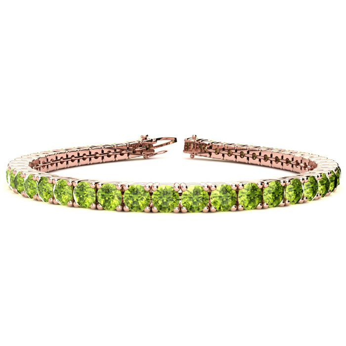 8 Inch 10 1/2 Carat Peridot Tennis Bracelet in 14K Rose Gold (13.