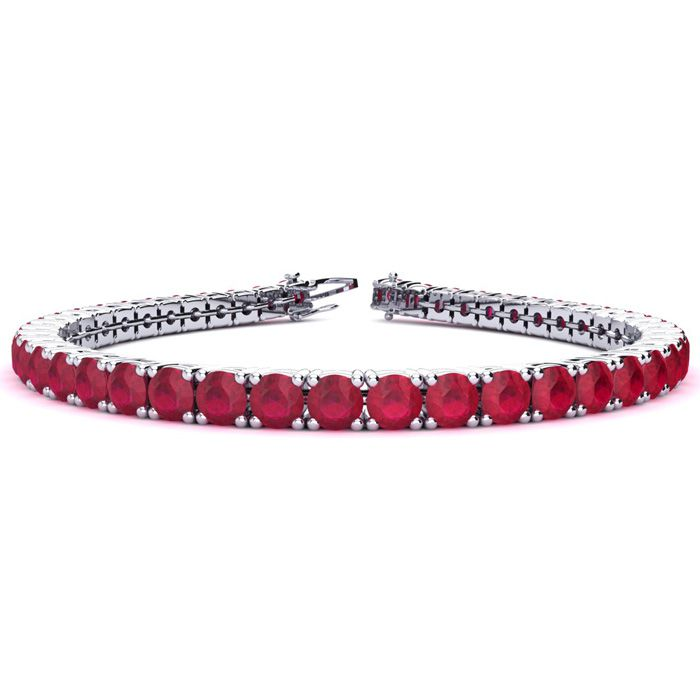 7.5 Inch 13 1/4 Carat Ruby Tennis Bracelet in 14K White Gold (12.