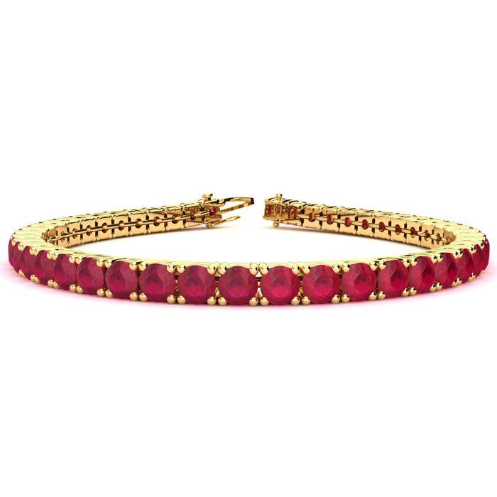 6 Inch 10 1/2 Carat Ruby Tennis Bracelet in 14K Yellow Gold (10.3