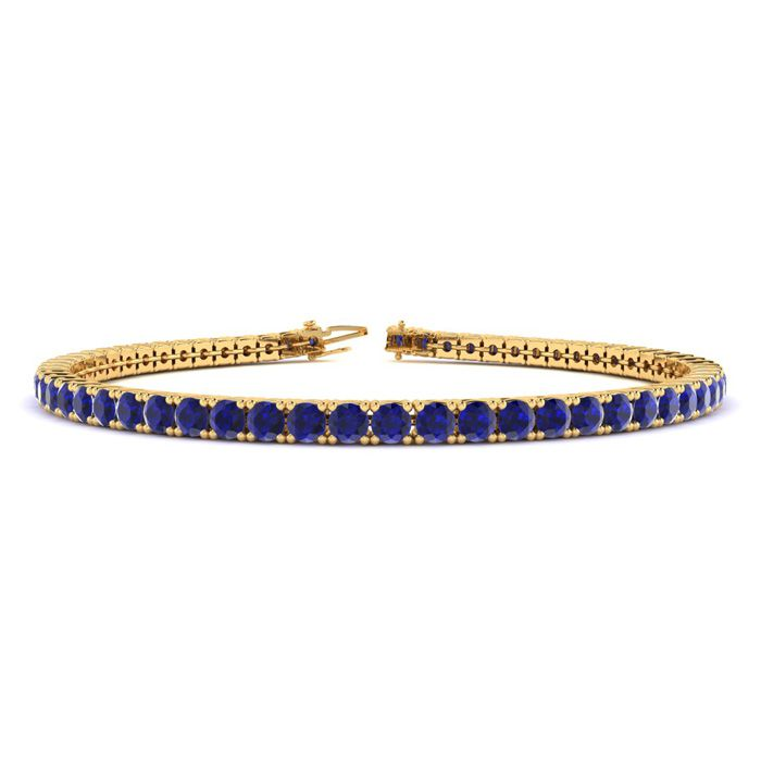 6 Inch 4 1/2 Carat Sapphire Tennis Bracelet in 14K Yellow Gold (8.1 g) by SuperJeweler