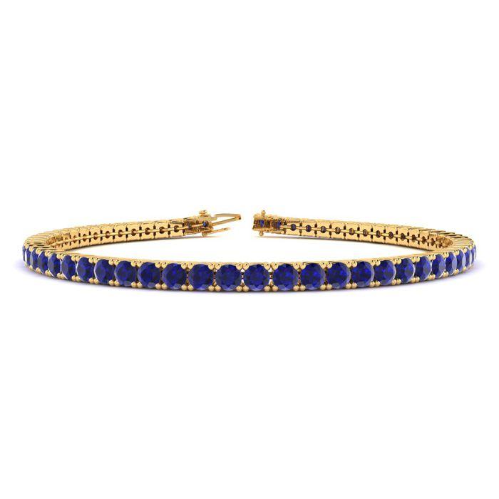 9 Inch 6 3/4 Carat Sapphire Tennis Bracelet in 14K Yellow Gold (1