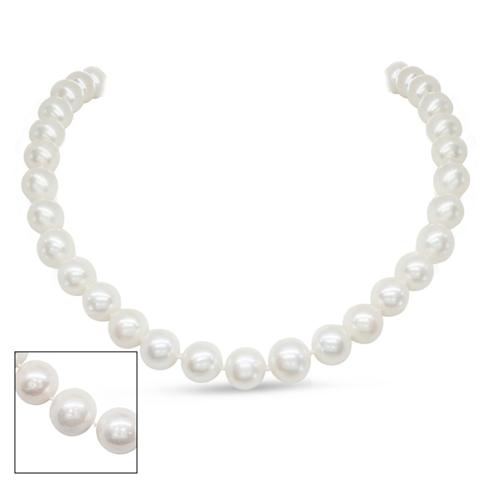 17 Inch 10mm AA Hand Knotted Pearl Necklace, 14k Yellow Gold Clas