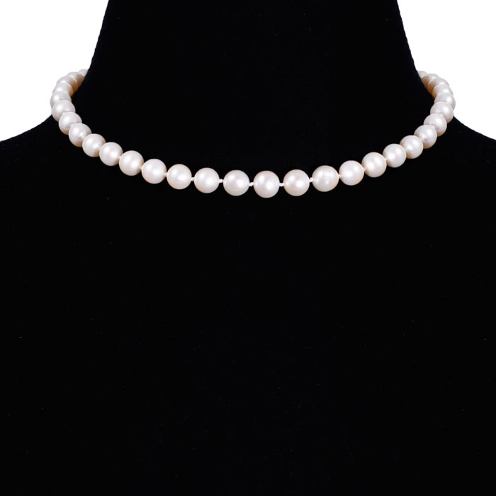 16 Inch 9mm AA Hand Knotted Pearl Necklace, 14k Yellow Gold Clasp
