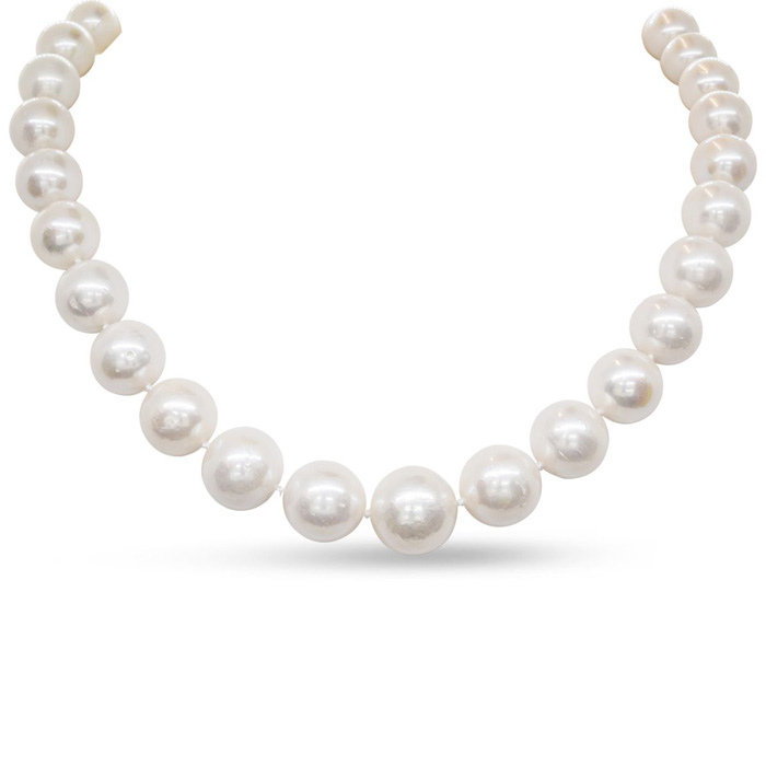 18 Inch 12mm AA Hand Knotted Pearl Necklace, 14k Yellow Gold Clas