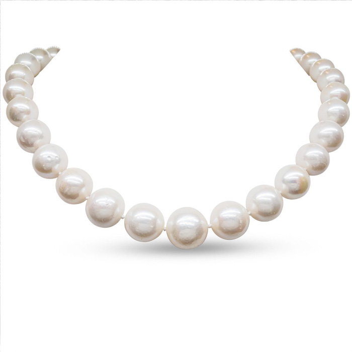 17 Inch 12mm AA Hand Knotted Pearl Necklace, 14k Yellow Gold Clas