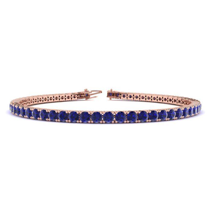 8 Inch 6 Carat Sapphire Tennis Bracelet in 14K Rose Gold (10.7 g)