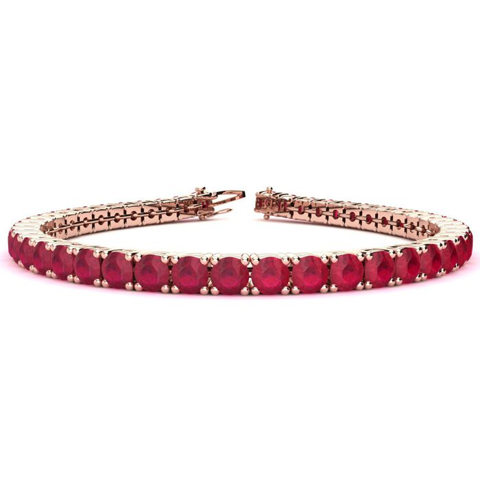 6 Inch 10 1/2 Carat Ruby Tennis Bracelet in 14K Rose Gold (10.3 g