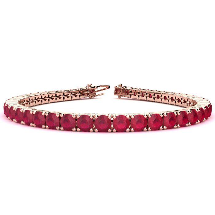 6.5 Inch 11.5 Carat Ruby Tennis Bracelet in 14K Rose Gold (11.1 g