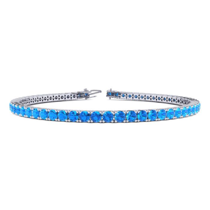 8 Inch 6 Carat Blue Topaz Tennis Bracelet in 14K White Gold (10.7