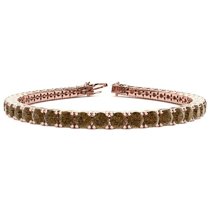 6 Inch 7 3/4 Carat Chocolate Bar Brown Champagne Diamond Tennis Bracelet In 14K Rose Gold