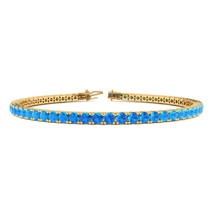 8.5 Inch 6 1/3 Carat Blue Topaz Tennis Bracelet in 14K Yellow Gol