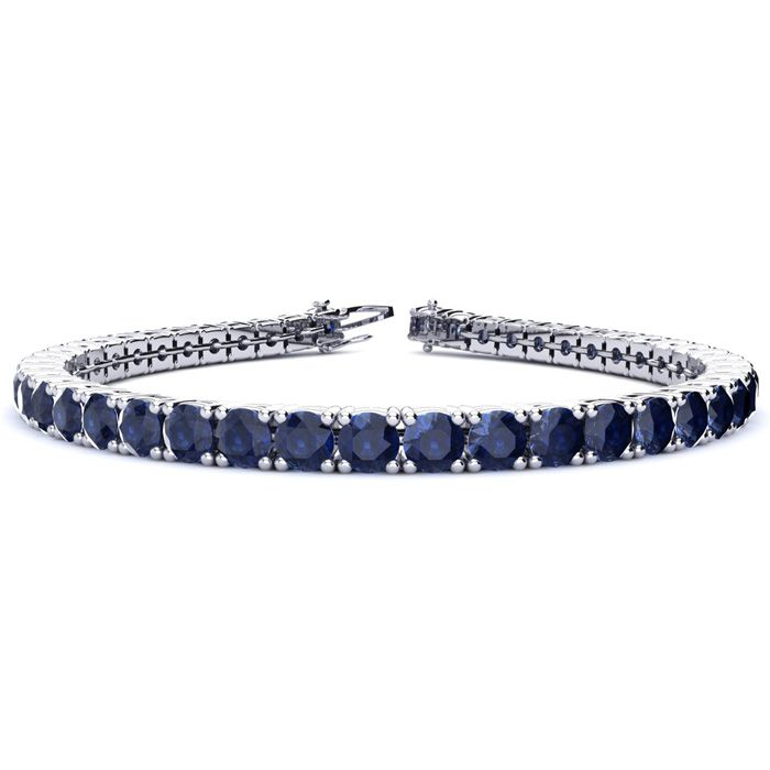 6.5 Inch 12 Carat Sapphire Tennis Bracelet in 14K White Gold (11.