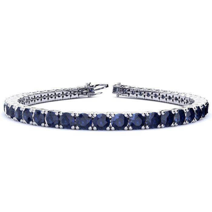 7 Inch 12 3/4 Carat Sapphire Tennis Bracelet in 14K White Gold (1