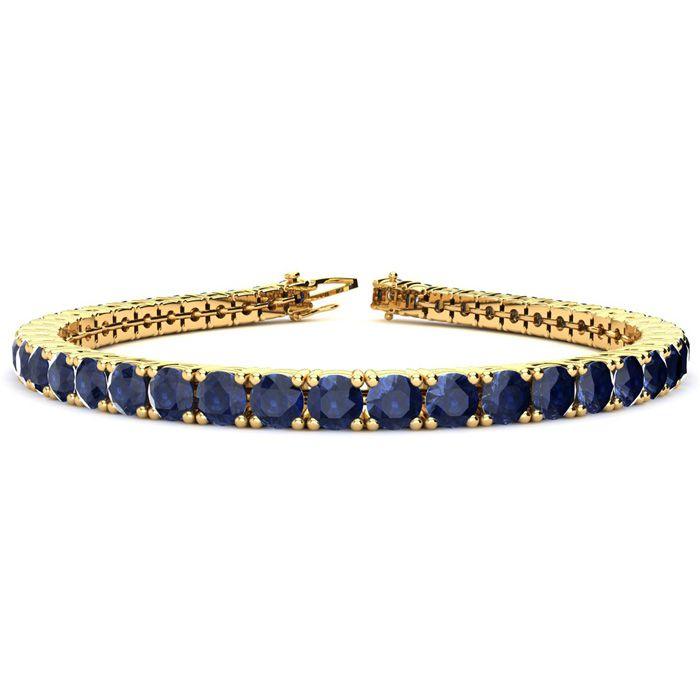 7.5 Inch 13 3/4 Carat Sapphire Tennis Bracelet in 14K Yellow Gold